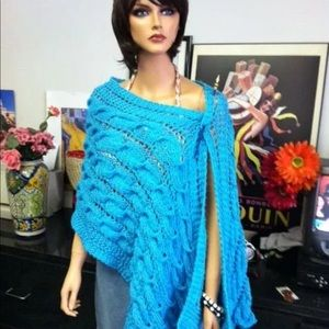 Hand Knits 2 Love ❤️ Accessories - Hand Knits 2 Love Shawl Turquoise Cables Designer